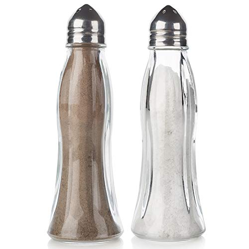 Salt and Pepper Shakers Glass Set, Clear Curved Design, Crystal Body with Stainless Steel Lids