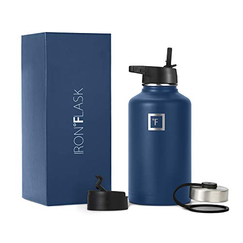 64 Oz, 3 Lids Straw Lid, Vacuum Insulated Stainless Steel, Hot Cold, Modern Double Walled, Simple Thermo Mug, Hydro Metal Canteen Blue - Iron Flask Sports Water Bottle