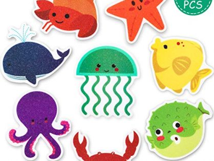 Mudder 20 Pieces Non-Slip Bathtub Stickers Sea Creature Decal Bath Treads Non Slip Stickers Tub Tattoos Adhesive Safety Anti-Slip Appliques for Bath Tub and Shower Surfaces