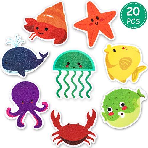 Mudder 20 Pieces Non-Slip Bathtub Stickers Sea Creature Decal Bath Treads Non Slip Stickers Tub Tattoos Adhesive Safety Anti-Slip Appliques for Bath Tub and Shower Surfaces