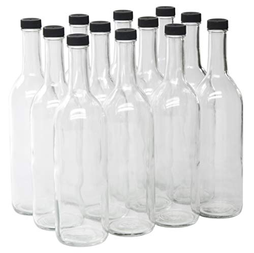 Case of 12 - with 28mm Black Plastic Lids - North Mountain Supply 750ml Clear Glass Bordeaux Wine Bottle Flat-Bottomed Screw-Top Finish