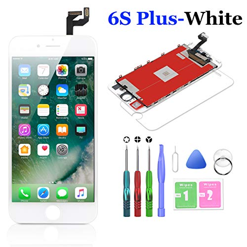 Compatible with iPhone 6S Plus Screen Replacement White 5.5 Inch LCD Display with 3D Touch Screen Digitizer Frame Full Assembly Include Full Free Repair Tools Kit+Instruction+Screen Protector