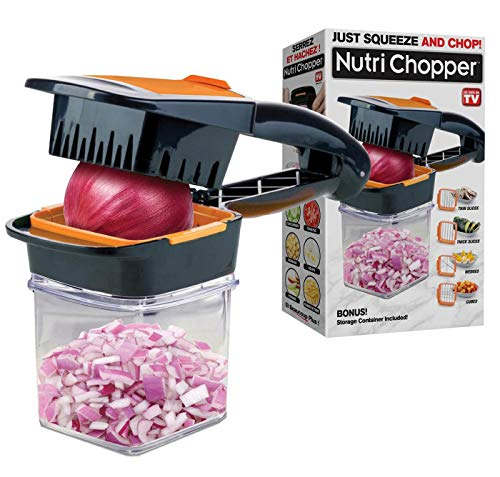 Multi-purpose Food Chopper with Stainless Steel Blades As Seen On TV - Nutrichopper with Fresh-keeping container - Chops, Slices, Cubes, Wedges