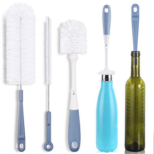 Bottle Cleaning Brush Set - Long Water Bottle and Straw Cleaning Brush - Kitchen Scrub Cleaner Set for Narrow Neck Beer Brewing Supplies, Sports Water Bottles, Straws Baby Bottles, Cups Set of 3