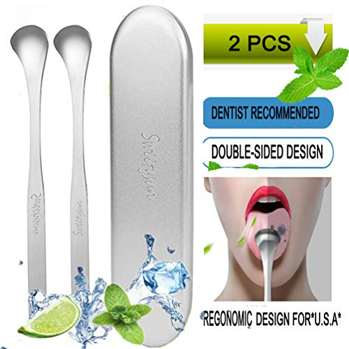 Tongue Scraper Cleaner,2 Pack Tongue Scrapers for Adults with Travel Case,Surgical Stainless Steel Tongue Cleaner for Daily Oral Dental Hygiene Fresh Breath and Cure Bad Breath