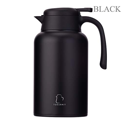 TOEARNIT Thermal Coffee Carafe Stainless Steel - Heavy Duty, 24hr Lab Tested Heat Retention, 2 Liter 68oz Insulated Coffee Thermos, Water & Beverage Dispenser Black, 2L