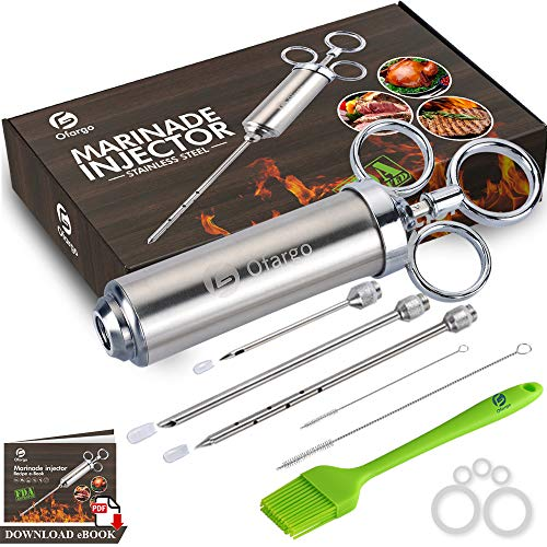 Ofargo Stainless Steel Meat Injector Syringe with 3 Marinade Injector Needles for BBQ Grill Smoker, 2-oz Large Capacity, Including Paper User Manual, Recipe E-Book Download PDF