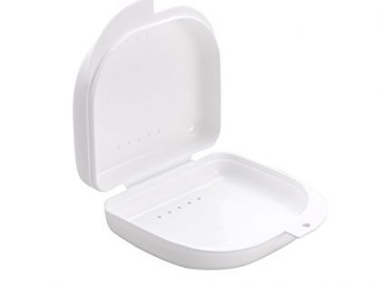 ROSENICE Retainer Case With Vent Holes and Hinged Lid Snaps Mouth Guard Case Orthodontic Dental Retainer Box in White.