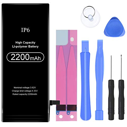 2200mAh Battery Replacement Compatible with iPhone 6,High Capacity Li-Polymer Rechargeable Battery with Complete Repair Tool Kit Adhesive and Instructions - 24 Months Warranty