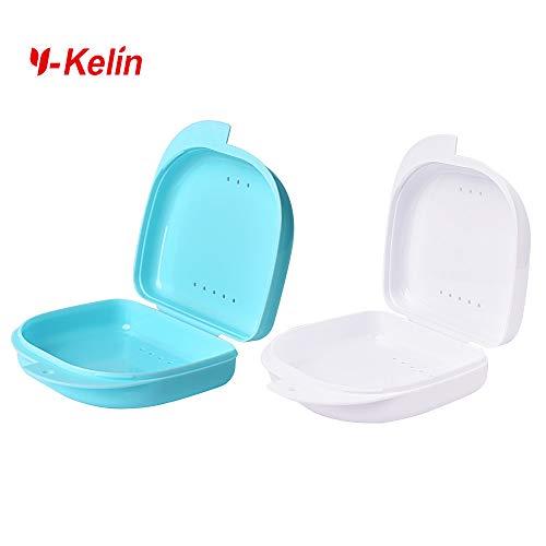 Y-Kelin Retainer Box Retainer Case Retainer Container Partial Denture Box 2 pcs Light Blue+white