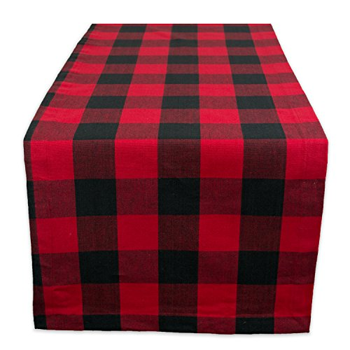 "DII Cotton Buffalo Check Table Runner for Family Dinners or Gatherings, Indoor or Outdoor Parties, & Everyday Use 14x72"",  Seats 4-6 People, Red & Black"