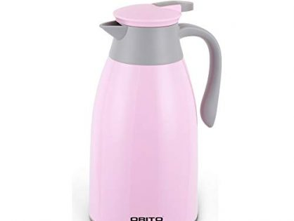 ORITO Thermal Carafe Double Wall Vacuum Insulated Coffee Carafe Thermos Pot Hot Tea and Water Dispenser ... 1.3 liter, Pink