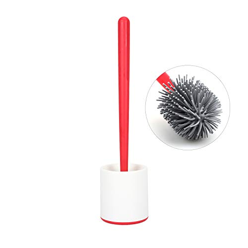 CLEANHOME Silicone Toilet Brush and Holder Set,Simple Design Bathroom Toilet Cleaner with Soft Bristle Environmental,Red and White,1 Pack