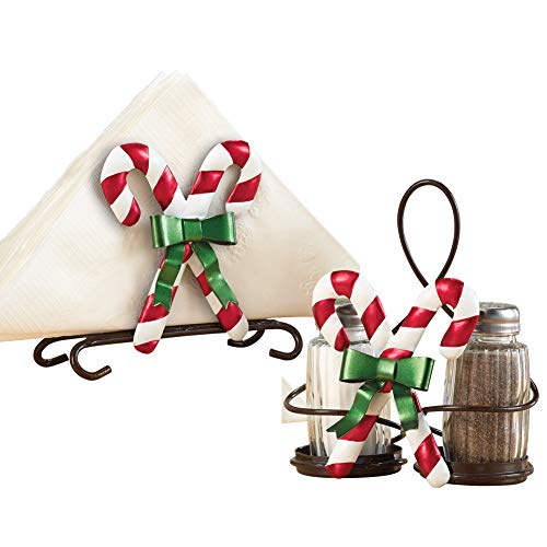 Collections Etc Christmas Kitchen Candy Cane Napkin Holder & Salt & Pepper Set