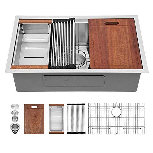 Sarlai 30 Inch Kitchen Sink Undermount Stainless Steel Deep Single Bowl 16 Gauge R10 Tight Radius Round Corner Ledge Workstation - SUS3018R1