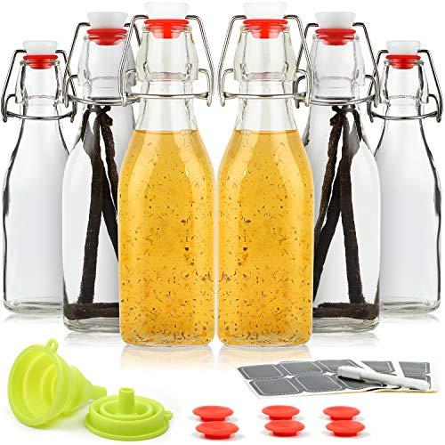 WILLDAN Set of 6-8.5oz Swing Top Glass Bottles - Airtight Caps and Leak Proof Lids, Bonus Gaskets and Funnel - Flip Top Brewing Bottles For Kombucha, Kefir, Vanilla Extract, Beer