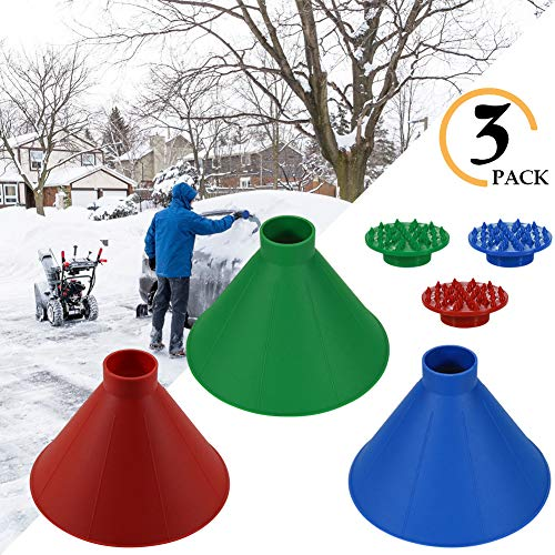 Kriszon Ice Scraper Outdoor Tool,Car Glass Scraper,Cone-Shaped Windshield Magic Funnel Car Windshield Snow Removal Tool Red & Blue & Green