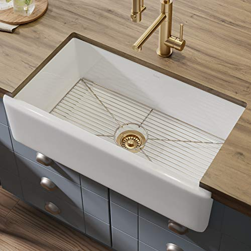 Kraus KFR1-33GWH Turino Fireclay Farmhouse Kitchen Sink, White