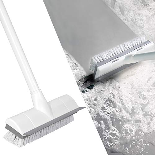 """BOOMJOY Floor Scrub Brush with Long Handle 50"""", Adjustable Stainless Metal Handle, Scrubber with Stiff Bristles for Cleaning Tile, Bathroom, Tub, Bathtub and Patio"""