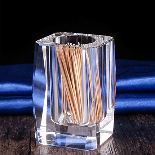 Cosy-Yc Crystal Toothpick Holder, Elegant Toothpick Dispenser, Clear Cube Toothpick Box,Cotton Swab Holder for Housewarming/Christmas Gift, Pen Holder