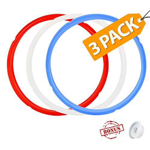 Color Coded with 3 Different Colors - 3 Pack Silicone Sealing Ring with Bonused Sealer - Instapot Silicone Seal Ring Replacement - Easy Clean Perfect Accessory for 5/6 qt Instant Pot 8 Qt avalible