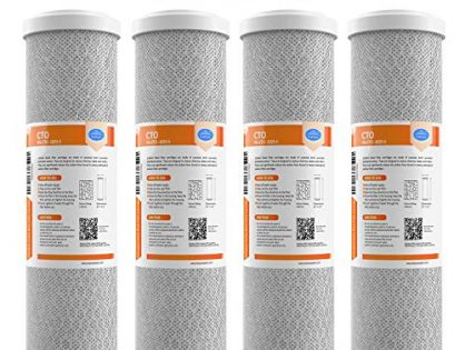 "SimPure Carbon Water Filter,5 Micron 10"" x 2.5"" Carbon Block Filter Cartridge Replacement,Whole House CTO Carbon Sediment Water Purifier Filter Compatible with Most RO System, 4 Pack"