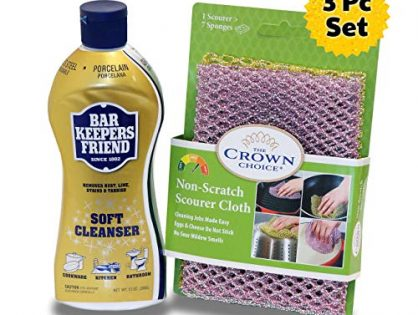 BAR KEEPERS FRIEND Soft Cleanser Liquid 13 OZ and Non Scratch Scouring Scrubber Kit | Multipurpose, Stainless Steel, Rust, Soft Cleaner with Heavy Duty Non Scratch DishCloth