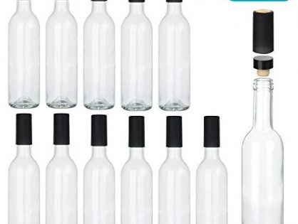 Encheng 12 oz Glass Bottles With Cork Lids,Home Brewing Bottles Juicing Bottles With Caps,Clear Beveage Bottles For Sparkling Wine,Kefir,Food Storage,Leak Proof,Dishware Safe,12Pack