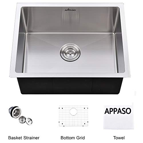 APPASO 23-Inch Handmade Single Bowl Kitchen Sink Undermount, Commercial 18-Gauge Stainless Steel 10-Inch Deep Drop-In Laundry Utility Sink, R231810