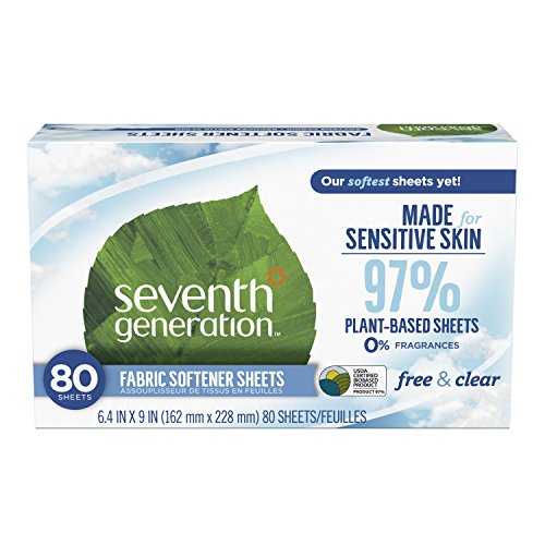 Seventh Generation Fabric Softener Sheets, Free & Clear, 80 count Packaging May Vary