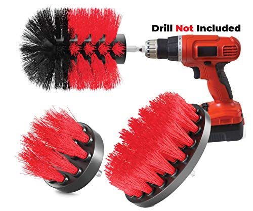 All Purpose Power Scrubber Cleaning Set for Grout, Tiles, Sinks, Bathtub, Bathroom & Kitchen Surface - Pack of 3 - Drill Brush Set Attachment Kit