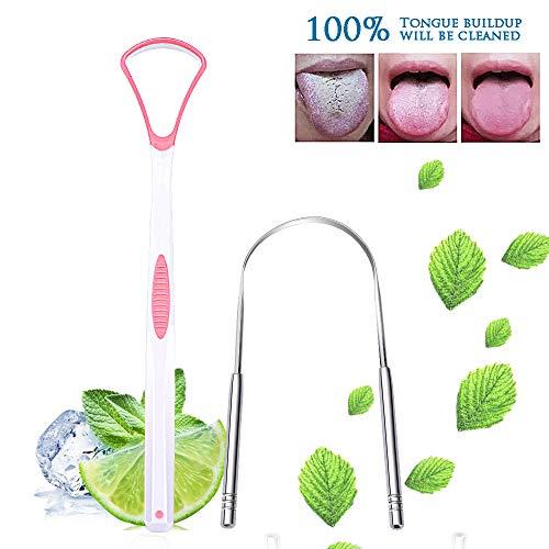 2PCS Set Premium Tongue Scraper Cleaner, Oral Scrapers, Fresh Breath, Dirty Sweeper, Food Grade Stainless Steel, Healthy PP Material, Useful Cleaners Pink