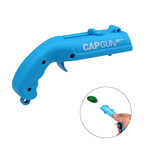 Tishare Cap Gun Bottle Opener With Frosted Treatment,Plastic Gun Launcher Shoots Over 5 Meters for Party Beer Drinking Blue
