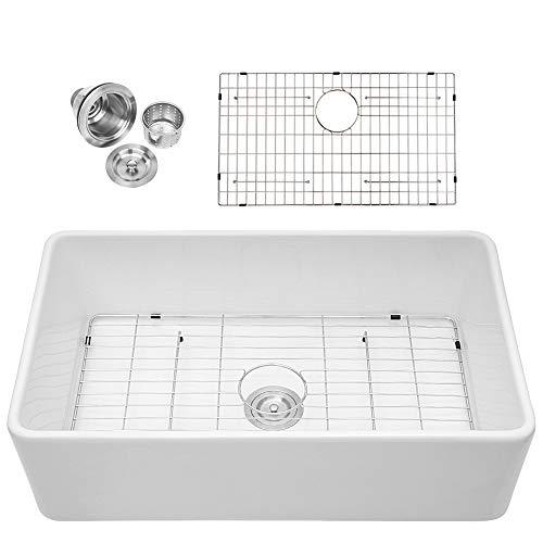 Sarlai 33 Inch Farmhouse Sink White Porcelain Vitreous Fireclay Single Bowl Kitchen Sink