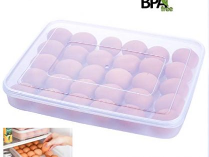 KaryHome Deviled Egg Tray Carrier with Lid,Egg Container Holder for Refrigerator, 30 Egg Tray, Clear