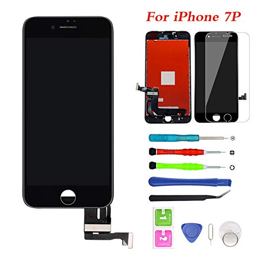 "for iPhone 7 Plus Screen Replacement Touch Screen Digitizer & LCD Display for iPhone 7 Plus 5.5"" Black Frame with Repair Tools iPhone 7 Plus, Black"