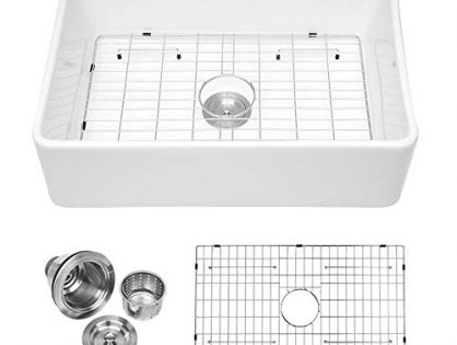 "Logmey 30"" Farmhouse Fireclay Single Bowl Kitchen Sink White Porcelain Vitreous Kitchen Sink"