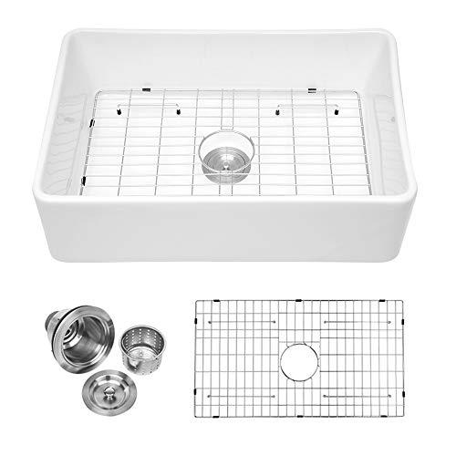 "Logmey 30"" Farmhouse Fireclay Single Bowl Kitchen Sink White Porcelain Vitreous Kitchen Sink"