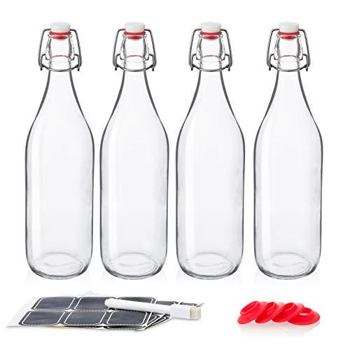 Giara Glass Bottles With Stopper Caps - Swing Top Glass Bottles 32oz / 1 Litre - Clear 4pk Set - Flip Top Water Bottles - CERAMIC TOPS
