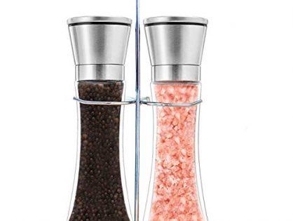 Salt and Pepper Shakers Mill, Stainless Steel Adjustable Coarseness Great Gift Set - Premium Salt and Pepper Grinder Set of 2 - Salt and Pepper Mill Shaker Mills Set with Bonus Stand Included