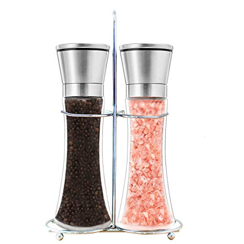 Salt and Pepper Shakers Mill, Stainless Steel Adjustable Coarseness Great Gift Set - Premium Salt and Pepper Grinder Set of 2 - Salt and Pepper Mill Shaker Mills Set with Bonus Stand Included