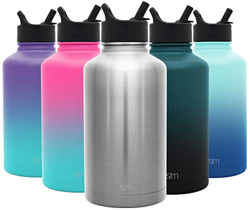 Hydro Vacuum Insulated Flask Double Wall Half Gallon Chug Jug - 18/8 Stainless Steel -Simple Stainless - Simple Modern 64 oz Summit Water Bottle with Straw Lid
