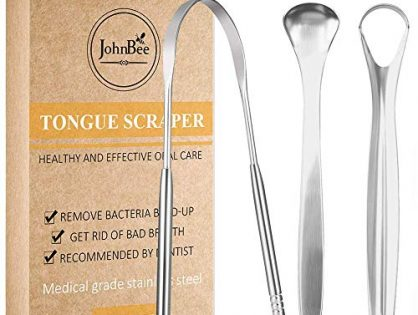 Tongue Scraper Cleaner for Adults. Surgical Grade Stainless Steel Metal The best Tongue Cleaner Ever! Cure Bad Breath 3 PACK