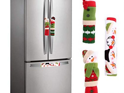 MIDOLO 3 Piece Set Christmas Snowman Refrigerator Appliance Handle Covers Christmas Decorations Fits Standard Size Kitchen Refrigerator Microwave Oven Or Dishwasher Green and Red