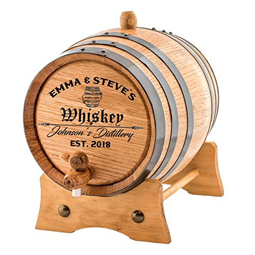 Custom Engraved American Premium Oak Aging Barrel - Age your own Whiskey, Beer, Wine, Bourbon, Tequila, Rum, Hot Sauce & More | Barrel Aged 2 Liters - Personalized