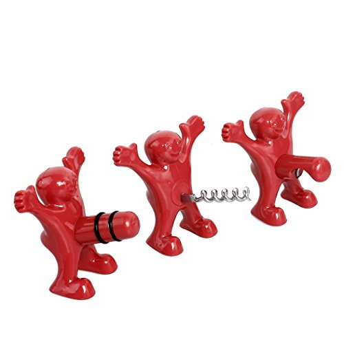 BUYBUYMALL Wine Stopper and Opener Set Three Cute Red Men of Novelty Bottle Opener Corkscrew and Stopper