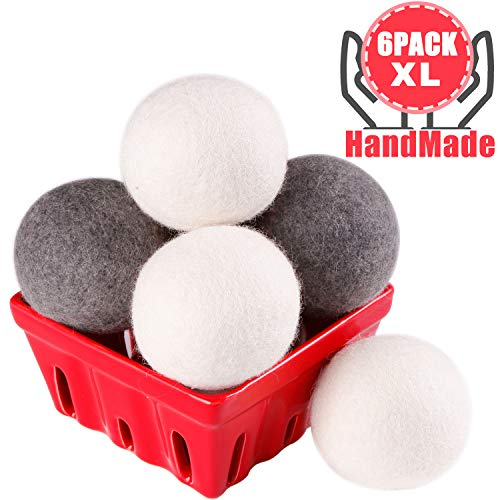 Eco Dryer Balls Reusable Natural Fabric Softener for Reducing Wrinkles & Static Cling, Hypoallergenic, Chemical Free 3white+3gray - Wool Dryer Balls Laundry XL 6-Pack - 100% Organic New Zealand Wool