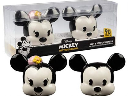 Original Classic Design - Official Disney Kitchen and Party Decor - Disney Mickey and Minnie Mouse Ceramic Salt and Pepper Shaker Set