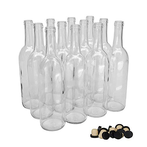 Case of 12 - North Mountain Supply 750ml Clear Glass Bordeaux Wine Bottle Flat-Bottomed Cork Finish - with Tasting Corks