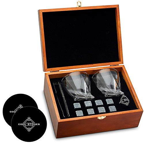 Great Gift for Father's Day, Dad's Birthday or Anytime For Dad + 2 Free Coasters - Whiskey Stones and Whiskey Glass Gift Boxed Set - 8 Granite Chilling Whisky Rocks + 2 Glasses in Wooden Box
